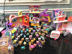 Littlest Pet Shop HUGE LOT OF PETS Accessories Airplane Shops And 🐝 House.