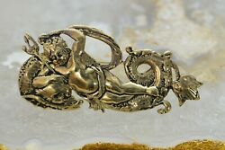 14k Yellow Gold Neptune Pin, Figure W/ Trident And Coiling Sea Serpent, 1960's