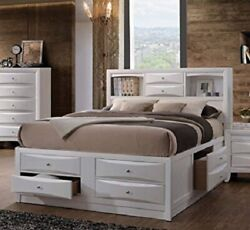 1pc Modern White Color Finish Eastern King Size Storage Bed Bedroom Furniture