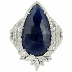Meticulously Pear Cut 8.45ct Blue Sapphire And 1.18ct Clear Cz Engagement Ring