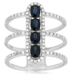 1.37ct Diamond And Aaa Sapphire 14kt White Gold 3d Oval And Round Triple Fun Ring