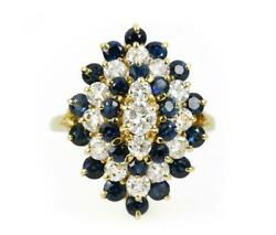 3.0tcw Royal Blue Sapphire And Diamond Statement Cocktail Ring Yellow Gold 14k