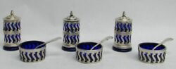 9 Pc Sterling Silver And Cobalt Blue Glass Salt Dish Salt Spoons And Pepper Shakers