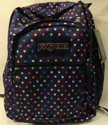 Dark Purple Polka Dot Large Backpack JanSport Fits Carry On Limits Free Shipping $84.55