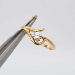 0.15 Ct Round Brilliant Cut Diamond Engagement Ring 14k Yellow Gold Marked Vin