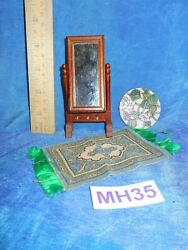 Vintage Dollhouse Doll House Lot Victorian Standing Mirror Tobacco Rug Mh35