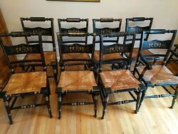 Vintage Tell City Hitchcock-style Rush Seat Stenciled Chairs Set Of 8