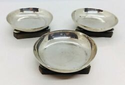 William Spratling Antique Mexican Sterling Silver And Wood Set Of 3 Dishes