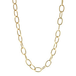 14 Kt Yellow Gold Open Oval Circle Link Necklace 34 Length Long New 6.5 Mm