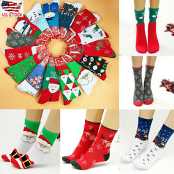 USA Unisex Men Women Christmas Socks Santa Claus Deer Warm Winter Xmas Fun Gift