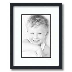 Arttoframes Matted 12x16 Black Picture Frame With 2 Double Mat 8x12 Opening