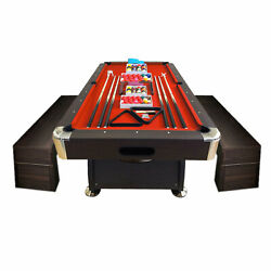 8and039 Feet Billiard Pool Table Full Set Accessories Vintage Red 8 With Benches