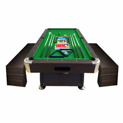 8and039 Feet Billiard Pool Table Full Set Accessories Vintage Green 8ft With Benches