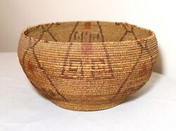 Antique 1800and039s Native American Hand Woven Polychromed Maidu Wicker Basket Indian