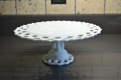 Westmoreland Cake Plate, Milk Glass Lacy Ring And Petal Bowl, +4 Candlesticks
