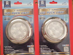 Led Courtesy Puck Light 4 Inch Blue Led51832dp Stainless Bezel 2 Pac Sale Boat