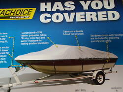 Boat Cover Wide Bass Boat 17.6ft X 90 Inches 97561 Cotton Duck Grey Uv Resistant