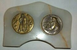 2 Antique French Bronze Religious Medals Mounted On Marble For Table