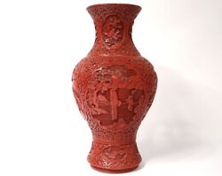 Large Vase Baluster Lacquer Cinnabar Characters Landscapes Flowers China 19th