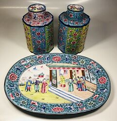 Antique 19th Century Chinese Hand-painted Enamel 3 Piece Tea Caddy Set