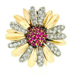 Vintage 14k Two Tone Gold Ruby Cluster & Diamond Layered Daisy Flower Brooch Pin
