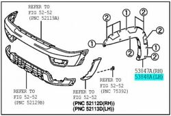 Toyota 53848-35120-b0 Front Wheel Opening / Arch Moulding Extension Lh Genuine