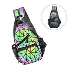 Geometric Backpack Luminous Holographic Color Changes Flash Reflective Bag