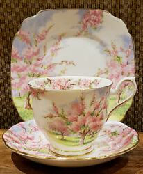Royal Albert China Blossom Time -- Trio -- Cup And Saucer + Dessert Plate Older