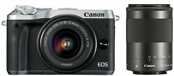 Canon 2017 Eos M6 Double Zoom Kit Silver Ef-m15-45mm/ef-m55-200mm From Japan New