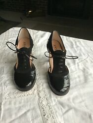 Ladies Black Leather And Suede Handmade In Italy D'orsay Tie Shoesby Anyi Lu