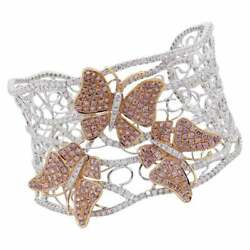 2.86ct Round Shape Queen Pink Sapphire And 9.28ct Clear Cz Butterfly Cuff Bracelet