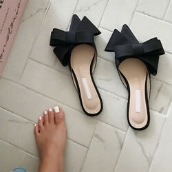 Spring Summer Womenand039s Shoes Korean Silk Satin Pointed Bow Tie Slippers Flat