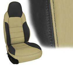2005-2011 Corvette Z06 Inspired Leather Standard Seat Covers Cashmere And Ebony