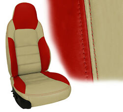 2005-2011 Corvette Z06 Inspired Leather Standard Covers Cashmere And Victory Red