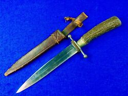 Rare German Germany Antique Wwi Ww1 Large Stag Handle Fighting Knife W/ Scabbard