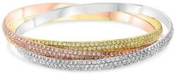 LARGE 20.41CT DIAMOND 18KT TRI COLOR GOLD ETERNITY TRINITY LOVE BANGLE BRACELET
