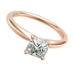Diamond Ring Princess Si2 D Solitaire 1.1 Carats 14k Rose Gold Red Four Prong