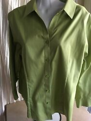 Chico's 3 non iron cotton blouse pippin apple green 34 sleeves shirt tail hem