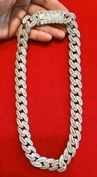 """Mens 14K Gold Finish BAGUETTE With ROUND STONES MIAMI CUBAN 18mm 22""""Chain $279.80"""