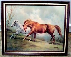 Vintage Horses 28 X 22 Picture / Print By P. Fullerton - Rare