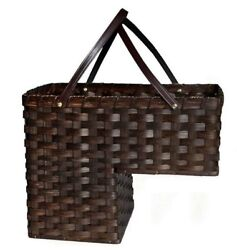 Staircase Step Basket - Amish Hand Woven Reed With Leather Handles Usa Handmade
