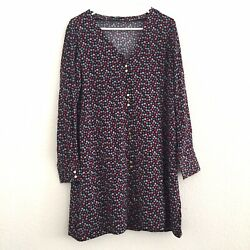 Madewell Multicolored Floral Ditsy Long Sleeve Button Down Shift Dress Size M
