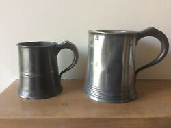Two Antique Pewter Tankards Measures.yates And Birch.