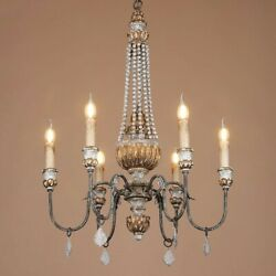 Rustic Sculpted Wood Clear Crystal Chandelier Distressed Beads Pendant Light E12
