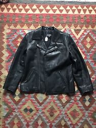 Vintage Polo Jeans Co. Leather Moto Jacket Xl Very Rare