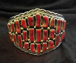 Southwest Native American 925 Sterling Silver Red Coral Bracelet Navajo Jewelry