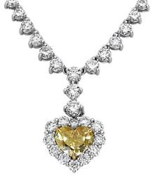 15.63CT WHITE & CANARY DIAMOND 18K WHITE GOLD HEART & ROUND LOVE TENNIS NECKLACE