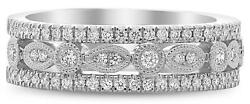 Wide .38ct Diamond 14kt White Gold 3d Round And Marquise Filigree Anniversary Ring