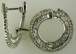 1.50ct Diamond 14kt White Gold 3d Round And Baguette Circle Of Life Hoop Earrings