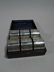 George V Napkin Rings - Set Of 6 Antique Art Deco - English Sterling Silver
